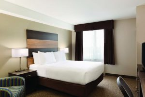 Accessible Queen room: handicap accessible room containing one queen bed, mini fridge and flat screen TV